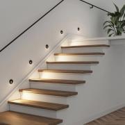Arcchio Neru -LED-uppovalo, pyöreä, musta